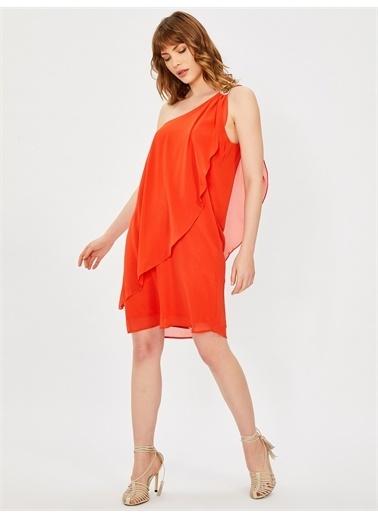 Vekem-Limited Edition Tek Omuz Payet Detaylı Şifon Elbise Mercan